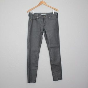 Rich & Skinny Grey Shiny Coated Skinny Jeans sz 28